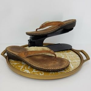 Ugg Hamoa Brown Leather Flip Flop Thong Sandals